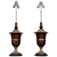 Pair of Neoclassical Table Lamps in Mahogany & Nickel-Plated, Mexican Modernist