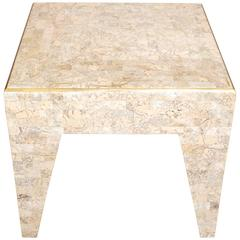 Tessellated Stone and Brass Square Occasional Table by Maitland Smith