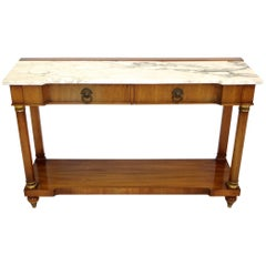 John Widdicomb Empire Style Console Table with Marble Top