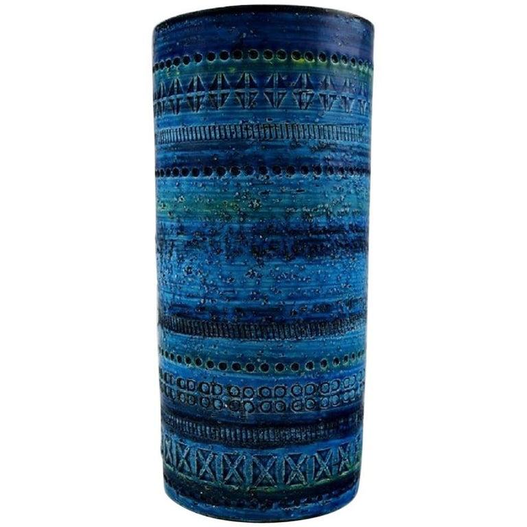 Bitossi, Rimini-Blue Ceramic Vase, Designed by Aldo Londi, 1960s