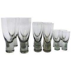 Set 12 Per Lutkin Holmegaard Smoked Canada Glasses - Wine, Aperitif, Cordial
