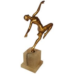 1930s Art Deco Spelter Female Dancing Figure