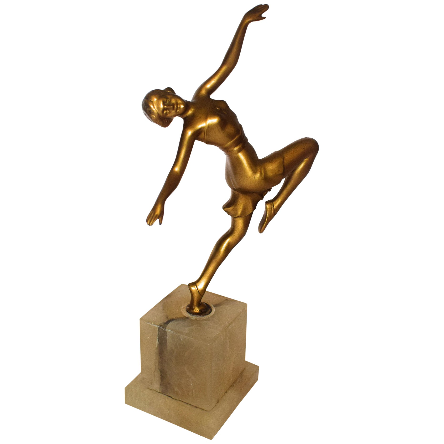 Art Deco Spelter Female Figural Dancer, 1930s