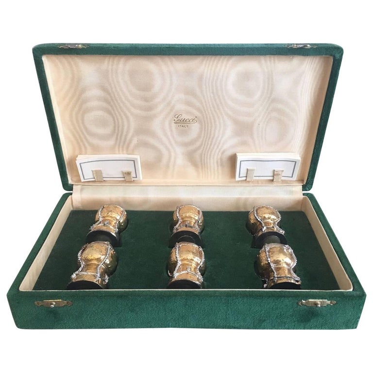 Boxed Set Of Six Gucci Champagne Cork Place Card Holders