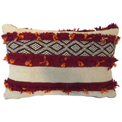 Moroccan Berber Pillow with Tribal Designs Red and Ivory Color