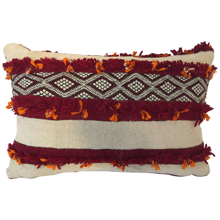 Moroccan Berber Pillow with Tribal Designs Red and Ivory Color For Sale