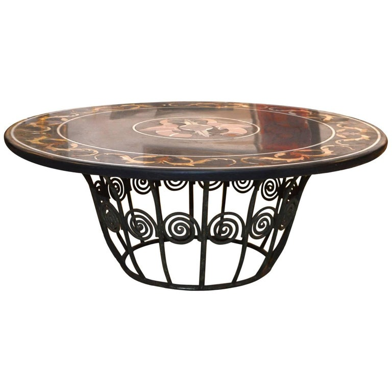 19th Century Pietra Dura Top Coffee Table with Iron Base
