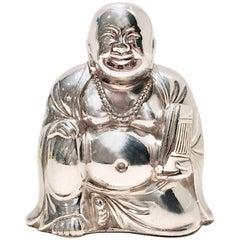 "Vintage Silver Plate Japanese ""Happy"" Buddah Sculpture"