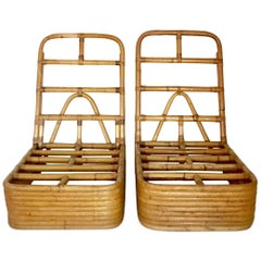 Paul Frankl Designed Rattan Reed Stack Slipper Chair, Pair