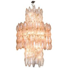Very Large Venini Poliedri Murano Glass Chandelier, Italy, circa 1950