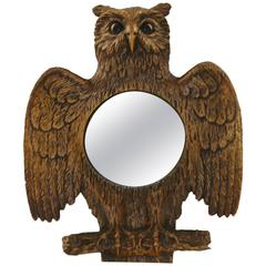 Gilded Owl Mirror with Convex Glass Made in France, 1960s