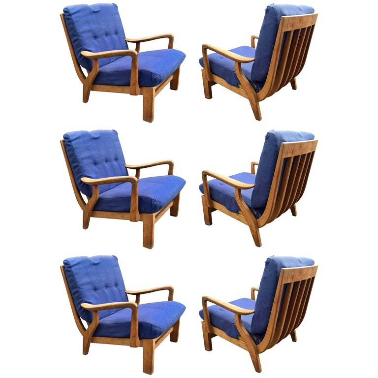 Guillerme et Chambron, Set of Six Armchairs, Edition Votre Maison, 1980
