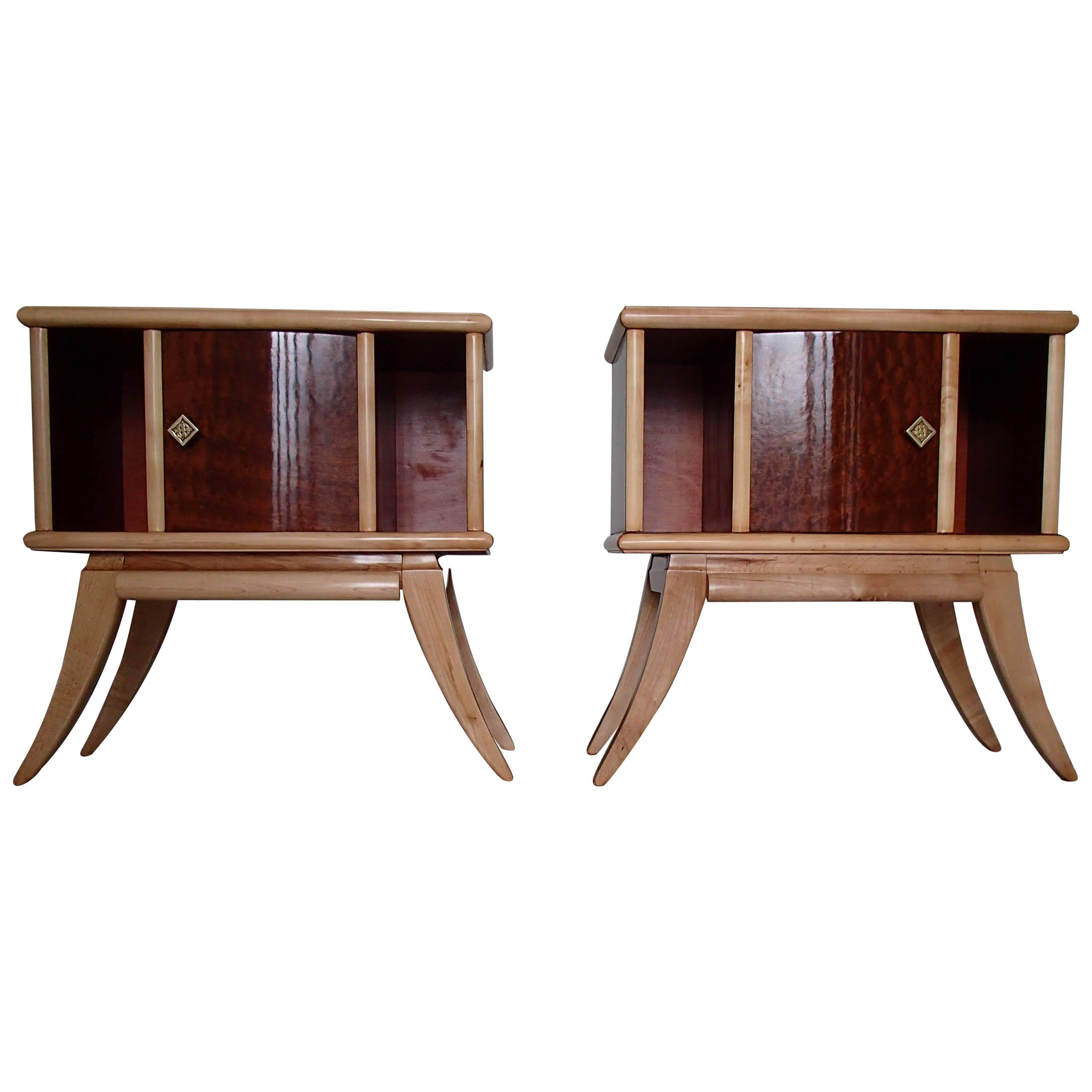 Pair of Art Deco Canadian Maple Eye on Birch Side Table Nightstands