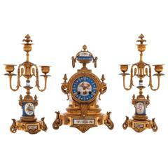 19th Century Ormolu and Sevres Porcelain Clock Set