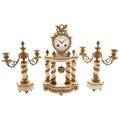 Early 20th Century White Marble and Ormolu Clock Garniture