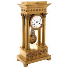 First Empire Gilt Bronze Portico Clock