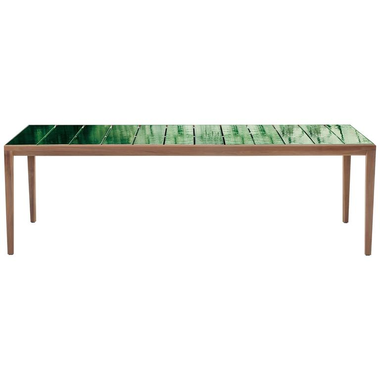 """Roda Teka Dining Table for Outdoor/Indoor Use in Teak and Glazed or Matt """"Gres""""  For Sale"""