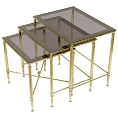 Set of Brass Nesting Tables with Smoked Glass Tops