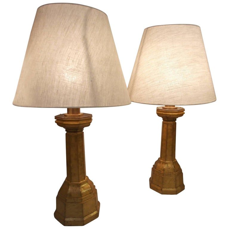 ARTS AND CRAFTS Giltwood Lamps