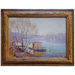 "John Elliot Jenkins ""Riverboats"" Signed, Oil Painting"