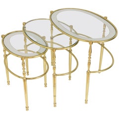 Interesting Oval Brass Nesting Tables, circa 1940