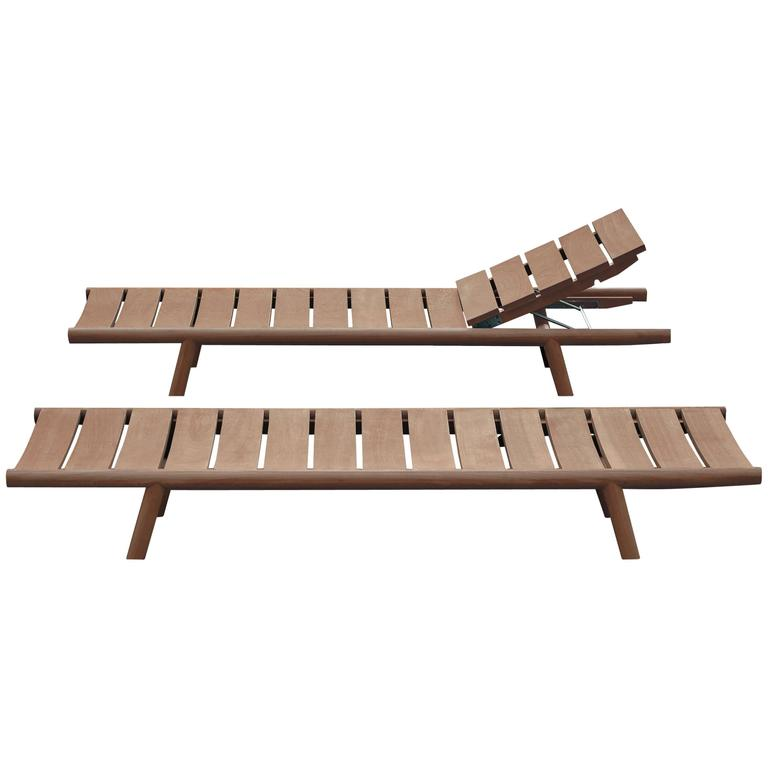 Roda Orson Adjustable Sunlounger for Outdoor Use in Teak with Optional Cushion For Sale