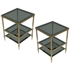 Pair of Brass Side Tables with Blue and Gray Glass Shelves