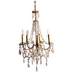 Charming and Large French Cut Glass and Brass Five Branch Chandelier
