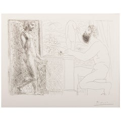 Picasso etching, Sculptor Working from Life with Marie-Thérèse Posing