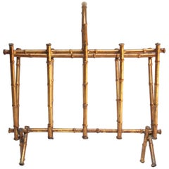Faux-Bamboo Gilt-Metal Magazine Rack