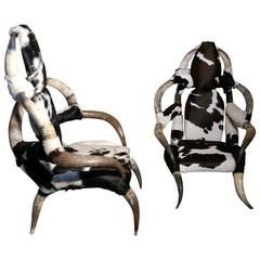 Fantastic Pair of Large Bull or Cow Horn and Hide Armchairs