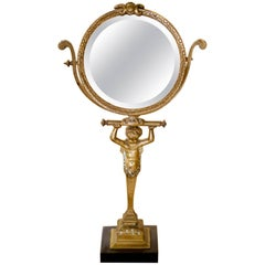 19th Century, French Bronze Vanity Tilt Mirror with Beveled Glass