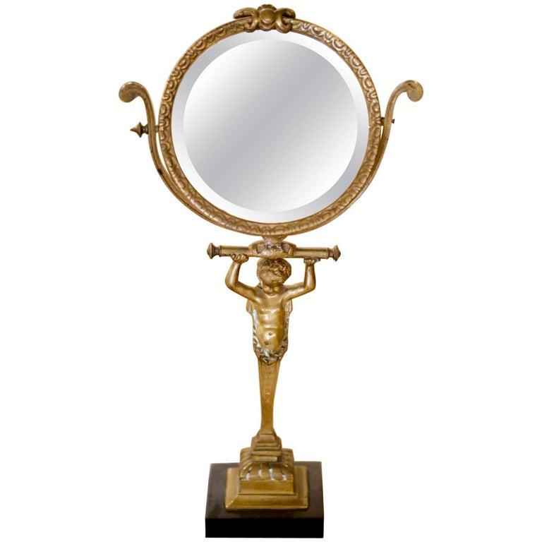 Th century french bronze vanity tilt mirror with
