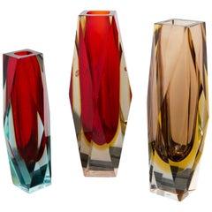 Set of Three Sommerso Vases, Italy, circa 1950