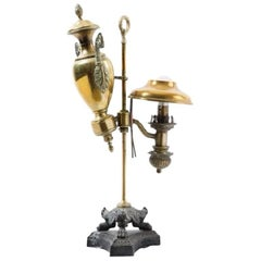 19th Century, French Brass Desk Lamp in Empire Style