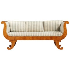 Swedish Biedermeier Empire Golden Birch Sofa French Polish Finish 19th Century