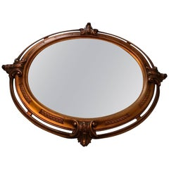 Beautiful Gold-Colored Oval Wood Mirror, Italy