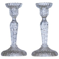 Antique German Pair of Meisenthal Crystal Candlesticks Candle Holders circa 1907