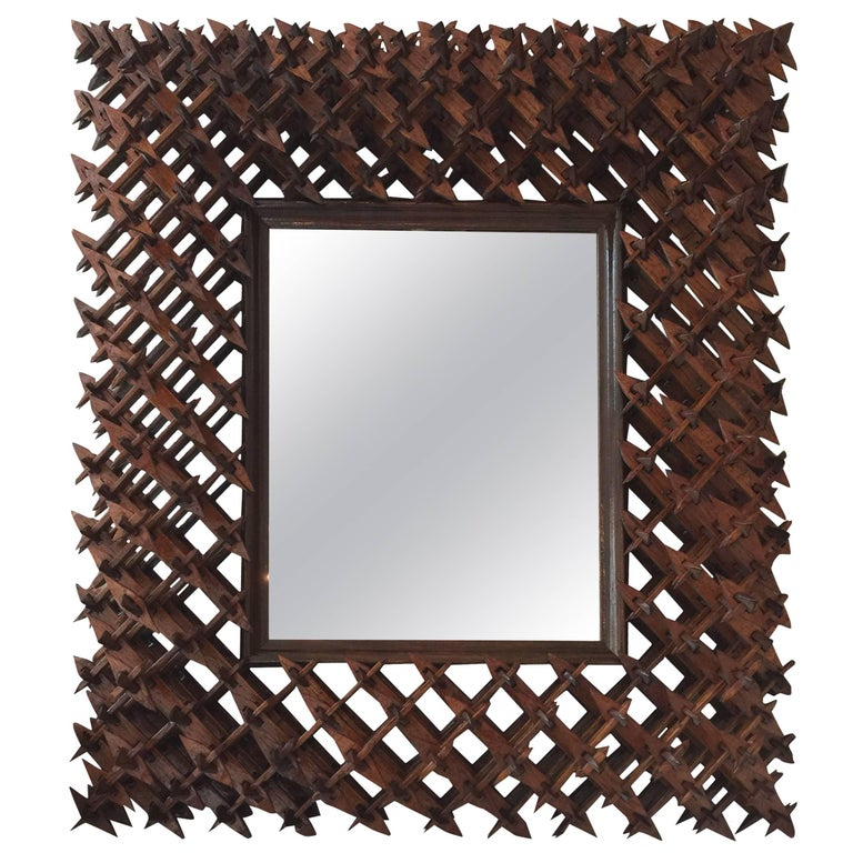 Crown of Thorns Tramp Art Wall Mirror at 1stdibs