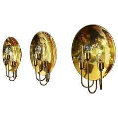 Gorgeous Brass Wall Lights or Sconces by Florian Schulz, 1960s, Set of Three