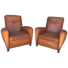 French Deco Club Chairs in Cognac Leather, Pair