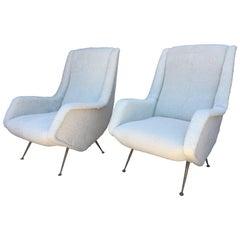 Pair of Original Vintage ISA Armchairs in Shearling