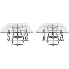 Tri-Mark Studio Brutalist Sidetables, Steel Masonry Nails, Pair