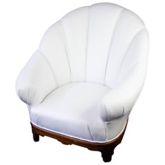 Art Deco Shellback Swedish Armchair White Italian Leather fluted decoration