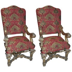 Pair of Louis XIV Giltwood Armchairs