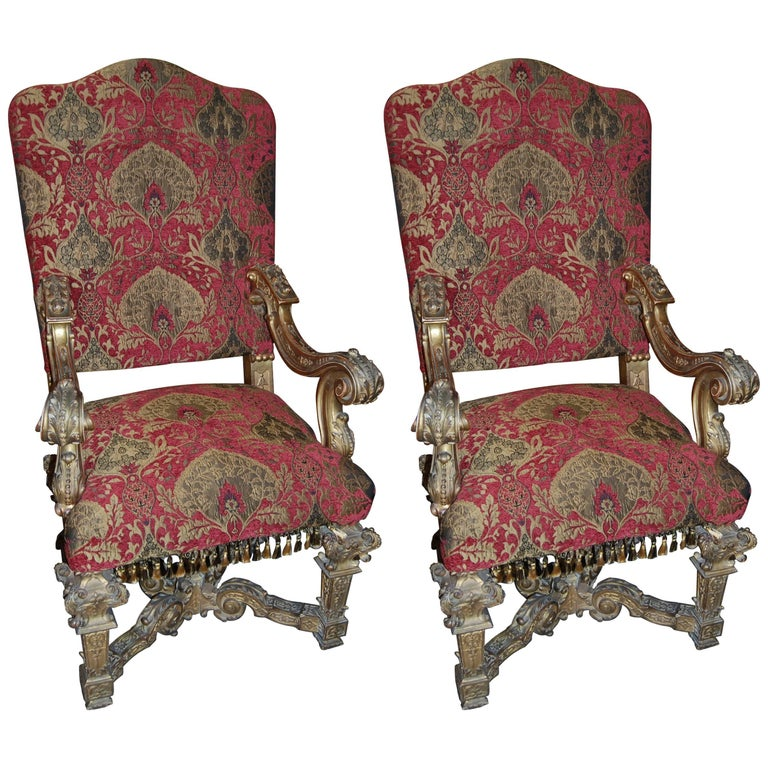 Pair of Louis XIV Giltwood Armchairs For Sale