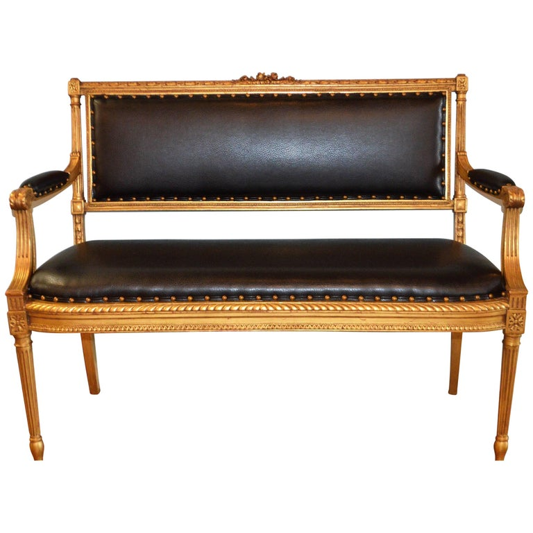 Louis XVI Style Gilded Settee, Canape, Newly Upholstered in a Simulated Leather