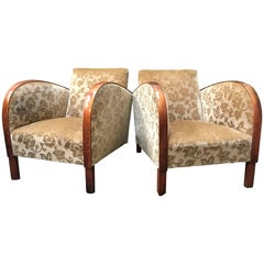 Art Deco Swedish Antique Early 20th Century Armchairs Golden Birch Bentwood Arms