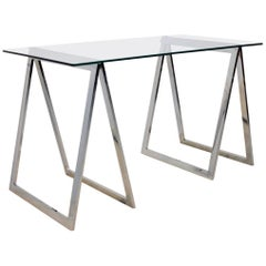 One of a Kind Chrome Trestle Leg Side Table