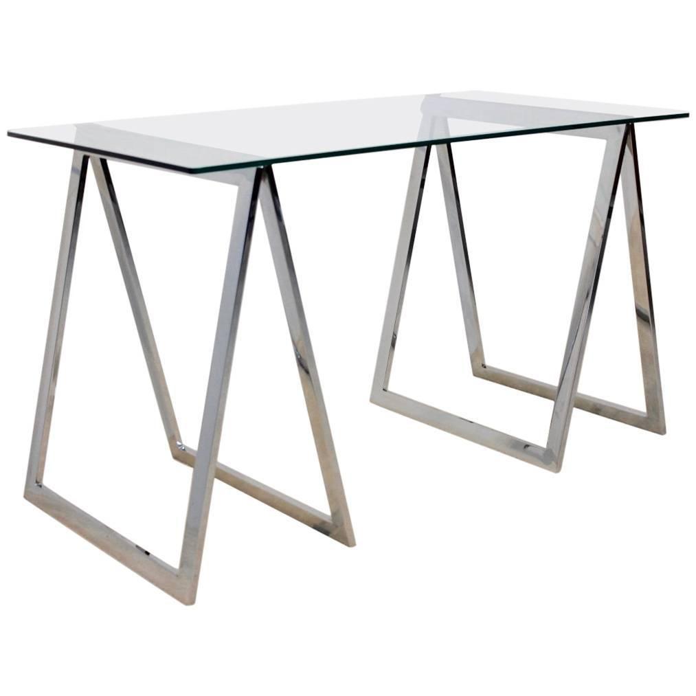 one of a kind chrome trestle leg side table